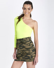 Contempo Generation One Shoulder Top Lime Neon