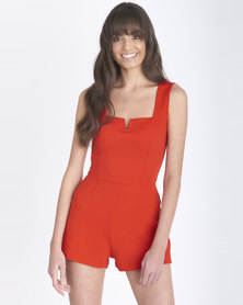 Contempo Generation Playsuit With Notched Neckline Red