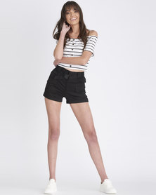 Contempo Generation High Waisted Cargo Shorts Black