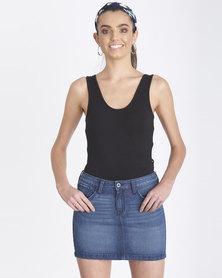 Contempo Generation Side Cutout Thong Bodysuit Black
