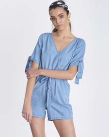 Contempo Generation Denim Playsuit With Tie Sleeves Blue