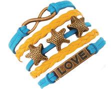 Urban Charm Summer Starfish Infinity Bracelet - Blue, Yellow