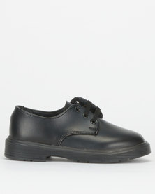 Toughees Boys Clerk Leather School Shoes Black