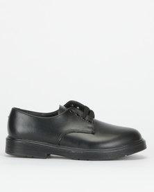 Toughees Boys Clerk Leather School Shoes Black