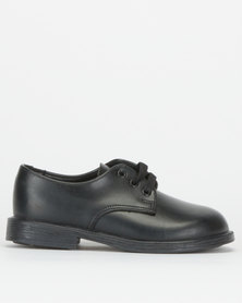 Toughees Boys Franki Leather School Shoes Black