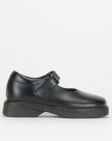Toughees Girls Genuine Leather Vivianne Toughees School Shoes Black