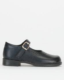Toughees Girls Genuine Leather Sara School Shoes Black