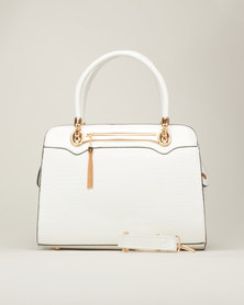 Queenspark Repeat Patent Croc Bag White