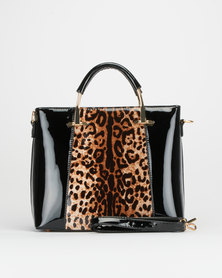 Queenspark Patent Animal Print Bag Black