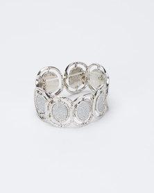 Queenspark Glitter Stretchy Disc Wristwear Silver