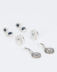 Queenspark 3Pk Hugging Drop Earrings Silver