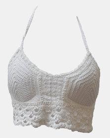 SKA Crochet Bra Top White