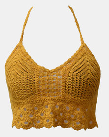 SKA Crochet Bra Top Mustard Yellow