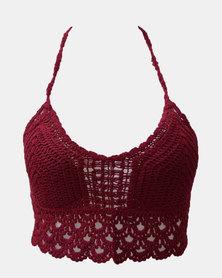 SKA Crochet Bra Top Maroon