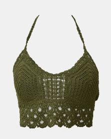 SKA Crochet Bra Top Kaki