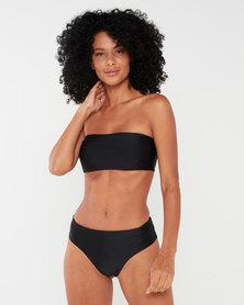 Utopia Bandeau Bikini Top with High Waisted Bottom Black