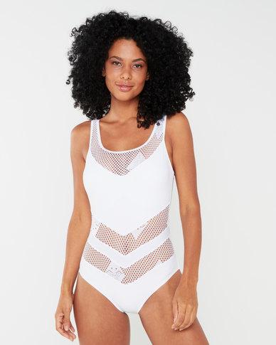 Utopia Crochet Inset One Piece Swimsuit White