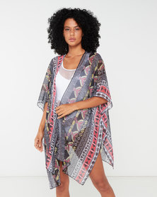 Utopia Ethnic Printed Kaftan Black