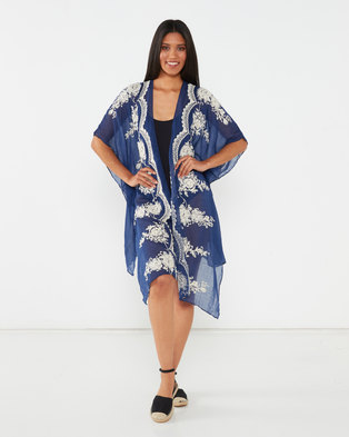 Utopia Tie Dye Swimwear Cover Up Navy