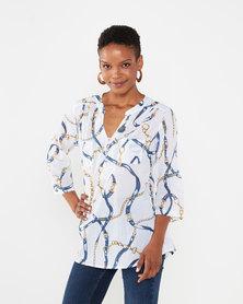 Queenspark Chain Print Voile Woven Shirt Multi