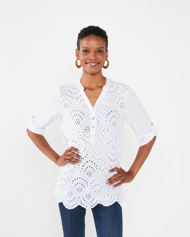 Queenspark Anglaise Woven Blouse White