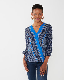Queenspark Chain Border Woven Blouse Blue