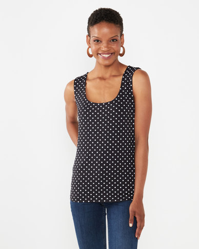 Queenspark Spot Design Formal Core Knit Cami Black/White