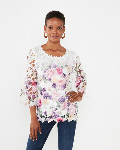 Queenspark Sheena Lace Knit Top Pink