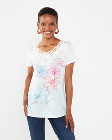 Queenspark Jane Cornelli Neckline Knit Top Blue