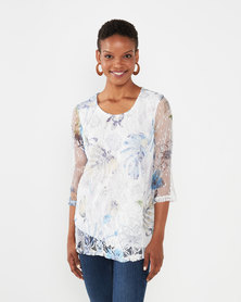 Queenspark Double Layer Floral 3/4 Sleeve Knit Top Multi