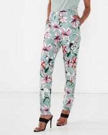 Queenspark Floral Printed Pocket Detail Trousers Sage