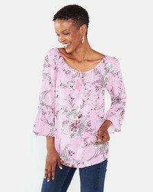 Queenspark Nicola Tie Woven 3/4 Sleeve Blouse Pink