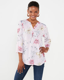 Queenspark Pretty Floral 3/4 Sleeve Woven Blouse Pink