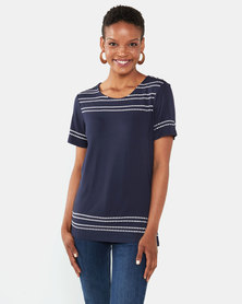 Queenspark Stitch Detail Short Sleeve Core Knit Top Navy