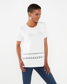 Queenspark Embroidered Panel Crewneck Knit Top White