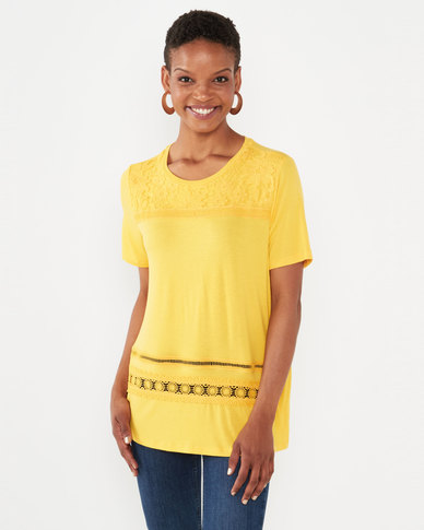 Queenspark Embroidered Panel Crewneck Knit Top Yellow