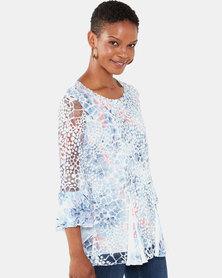 Queenspark Animal Printed Godet Knit Top Multi