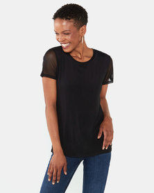 Queenspark Double Layer Mesh Knit Top Black