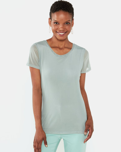 Queenspark Double Layer Mesh Knit Top Sage