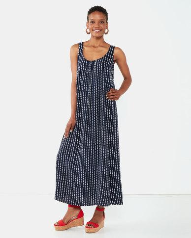 Queenspark Maxi Viscose Woven Sleeveless Dress Navy