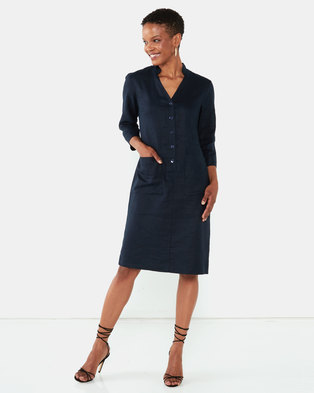 Queenspark Button Detail 3/4 Sleeve Linen Woven Dress  Navy