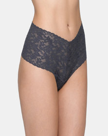 Hanky Panky Signature Lace Retro Lace Thong - Charcoal