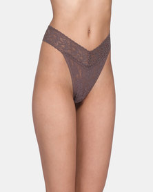 Hanky Panky Rolled Signature Lace Original Rise Thong - Brown