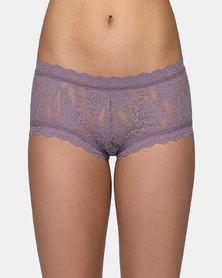Hanky Panky Rolled Signature Lace Boy Short- Medium Grey