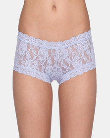 Hanky Panky Rolled Signature Lace Boy Short- Light Grey
