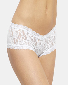 Hanky Panky Rolled Signature Lace Boy Short- White