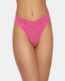 Hanky Panky Rolled Signature Lace Original Rise Thong - Medium Pink