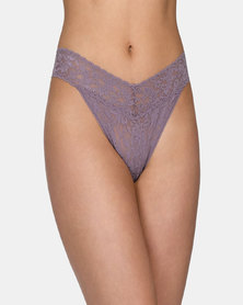 Hanky Panky Rolled Signature Lace Original Rise Thong - Medium Grey
