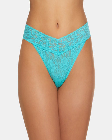 Hanky Panky Rolled Signature Lace Original Rise Thong - Light Turquoise