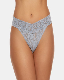 Hanky Panky Rolled Signature Lace Original Rise Thong - Light Grey